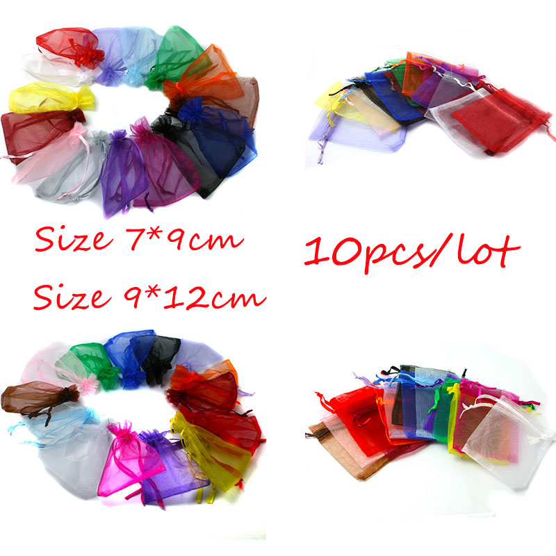 Top Sale 10pcs 7x9/9x12cm Drawstring Organza Jewelry Packaging Display Jewelry Pouches For DIY Jewelry Wedding Gift Beads Bags