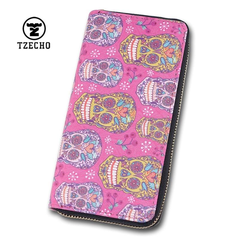 TZECHO Wallet for Women With Phone PU Skull Head Clutch Female Purses Rfid Credit Cards Ladies Long Womens Wallets Zipper Walet