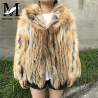 New Real Fox Fur Coats Genuine Fox Fur Strip Sewed Toghter Female Jacket with Hood Fashion Short Winter Women Real Fur Coat