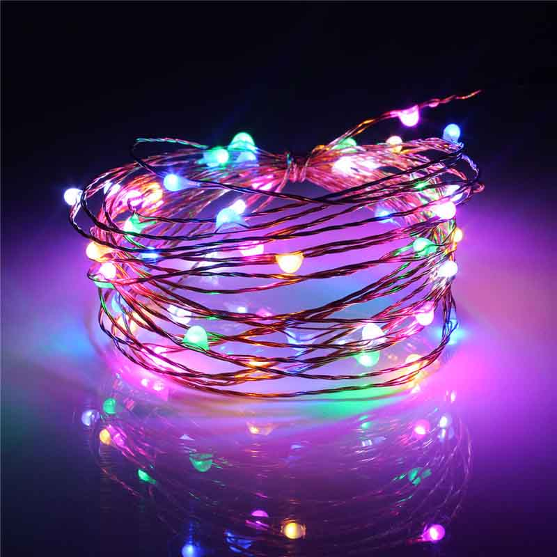5M Waterproof USB Power Operated Copper Wire LED String Light Fairy Light Christmas Home Party Decor RGB LED Strip Lamp