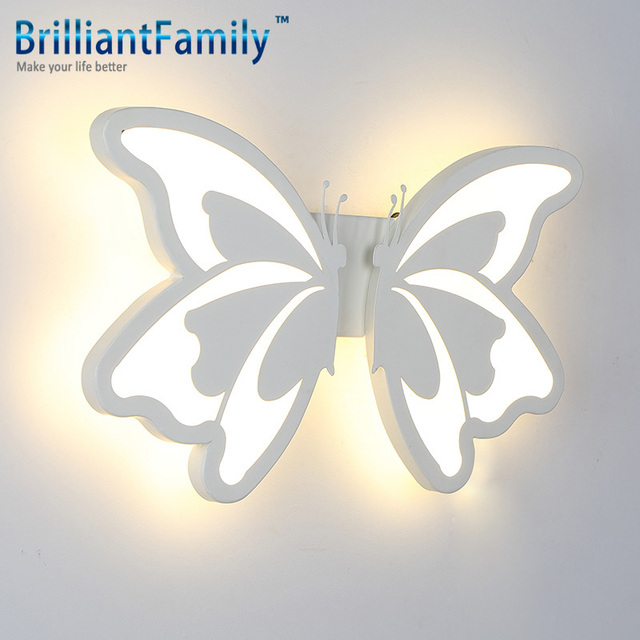 Butterfly Creative Style Wall Lamp Modern Simple Bedroom Study Living Room Hotel Wireless Acrylic