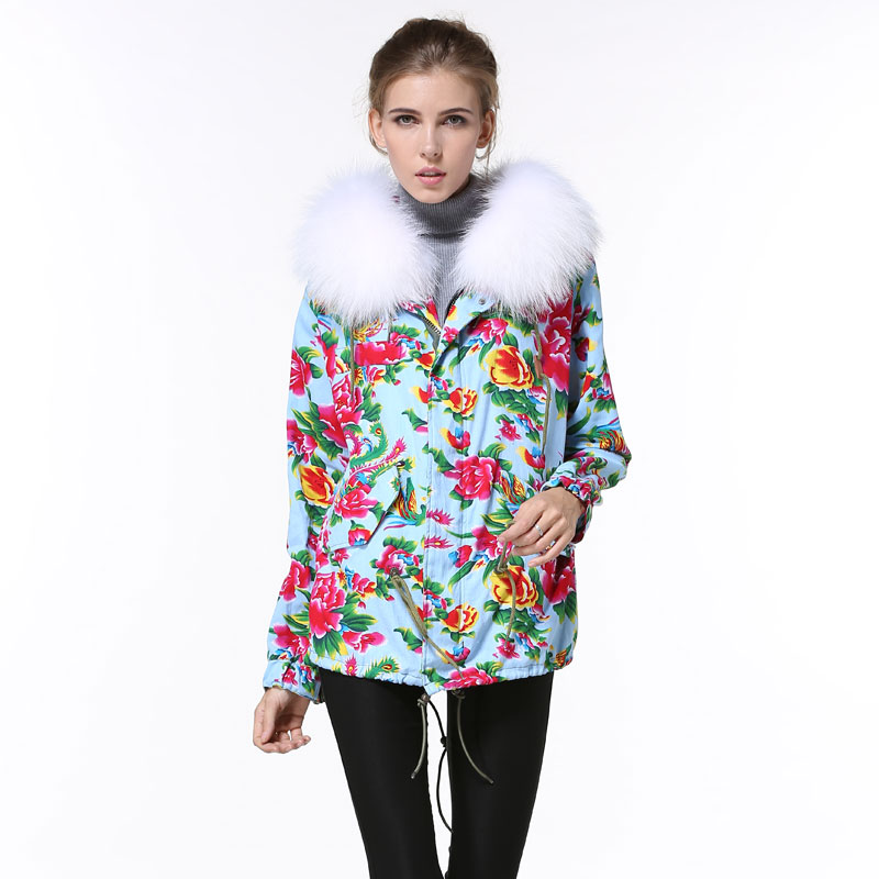 New arrival chinese wind winter cream fur coat, white big collar short style Floral fashion Mrs. Aquamarine coat Free Shipping