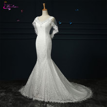 Waulizane V-neck Mermaid Wedding Dresses Cap Sleeves