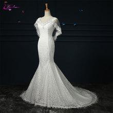 Waulizane V-neck Mermaid Wedding Dresses Cap Sleeves