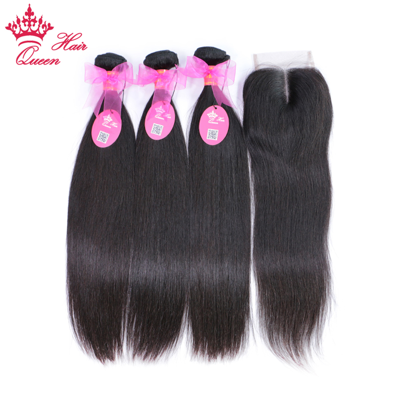 Queen Hair Brazilian Straight Hair Bundles with Closure Middle Part Remy 100 Human Hair 4pcs lot