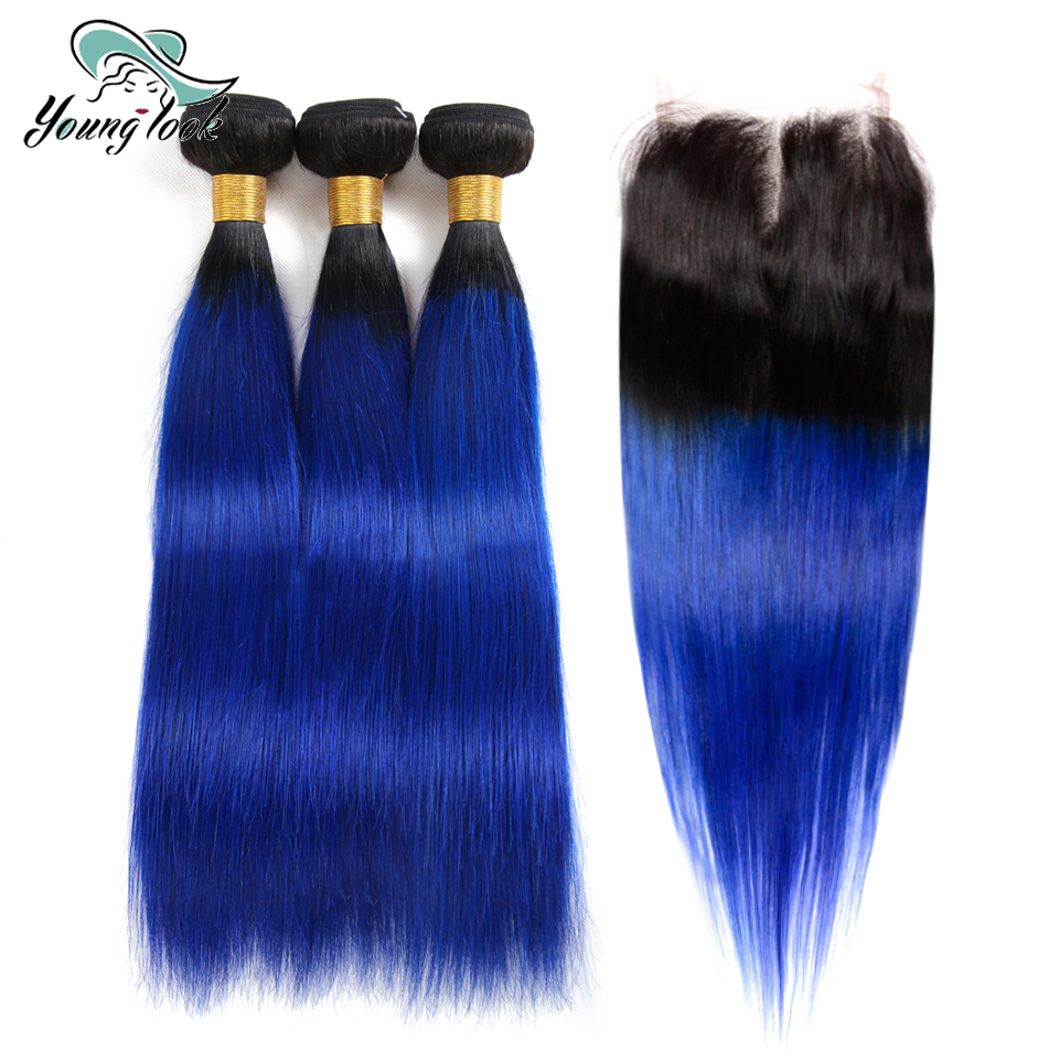 Young Look Straight Hair Weave 3 Bundles With Closure Ombre 1b/blue Malaysian hair Bundl ...