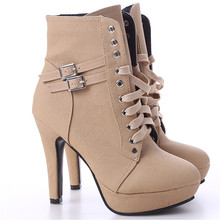 Women boots sexy high heels platform ankle boots for women botas femininas mujer lace up night