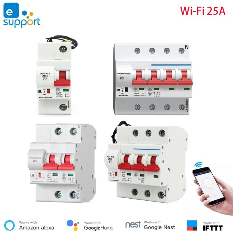 25A eWeLink WiFi Smart Circuit Breaker Automatic Switch overload short circuit protection work with Amazon Alexa