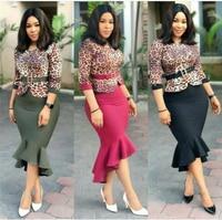 GuyuEra New African dress for women's hot sale 2018 Leopard stitching fishtail dress with belt L XXL