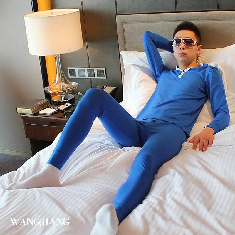 Free shipping New mens thermal underwear male V-neck Long johns set 100% cotton Long johns set 8 colors S M L XL