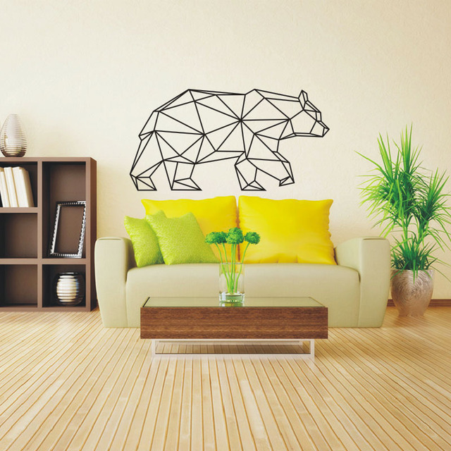 2016 Design Geometric Animals Vinyl Bear Wall Stickers Geometry ...