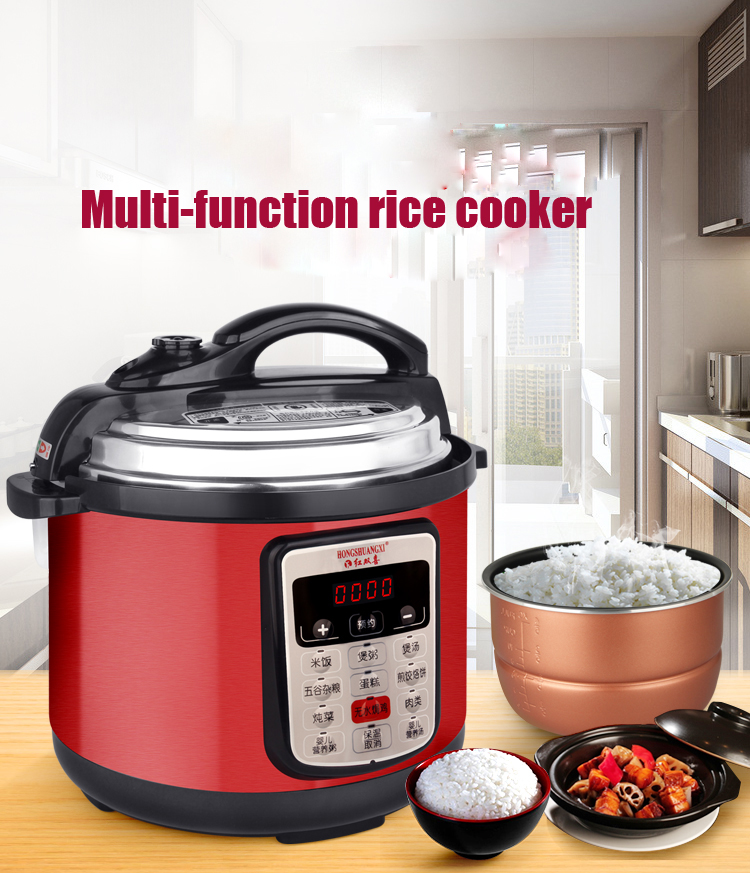 Multifunction Pressure Slow Cooking Pot Rice Soup Stew Cooker Stainless Steel Electric Heated Food Container 220V 900WMultifunction Pressure Slow Cooking Pot Rice Soup Stew Cooker Stainless Steel Electric Heated Food Container 220V 900W