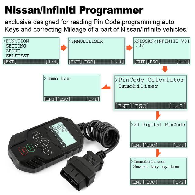 US $109 26 |OBDPROG MT003 Auto Key Programmer Adjust Odometer Immobiliser  For Nissan/Infinite Change Mileage Adjustment Tool Key Coding on