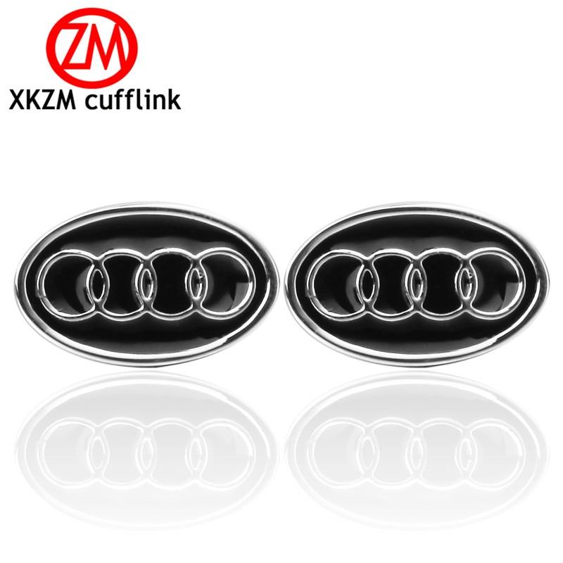 XKZM Jewelry French shirt cufflink for mens brand black Audi car logo Cuff link Luxury Wedding Button silver High Quality
