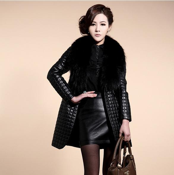 Leather   clothing Oversized raccoon fur collar sheep skin simulation Piga cotton ladies   leather   jacket long coat jacket 8870
