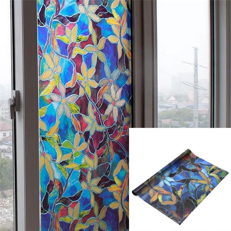 2pcs magnolia privacy window film decorative stained glass window film stained glass self adhesive film sticker - Window Film Decorative