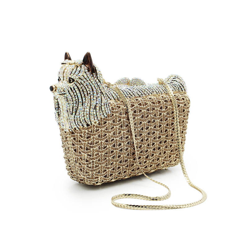 Animal Shape Luxury Party Crystal Bags Women Diamond Evening Clutches Purse Wedding Dinner Clutch Bag Ladies Small Dog(88139A-B)