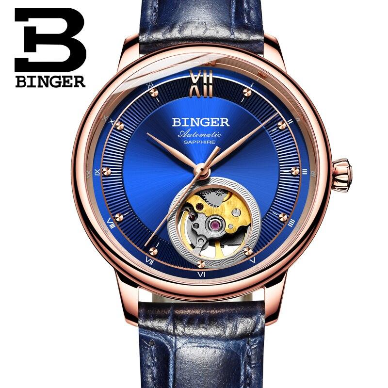 Suiza BINGER relojes de las mujeres ultra-delgada Japón 90S5 automático Movemt Tourbillon zafiro relojes mecánicos B-1180W-2