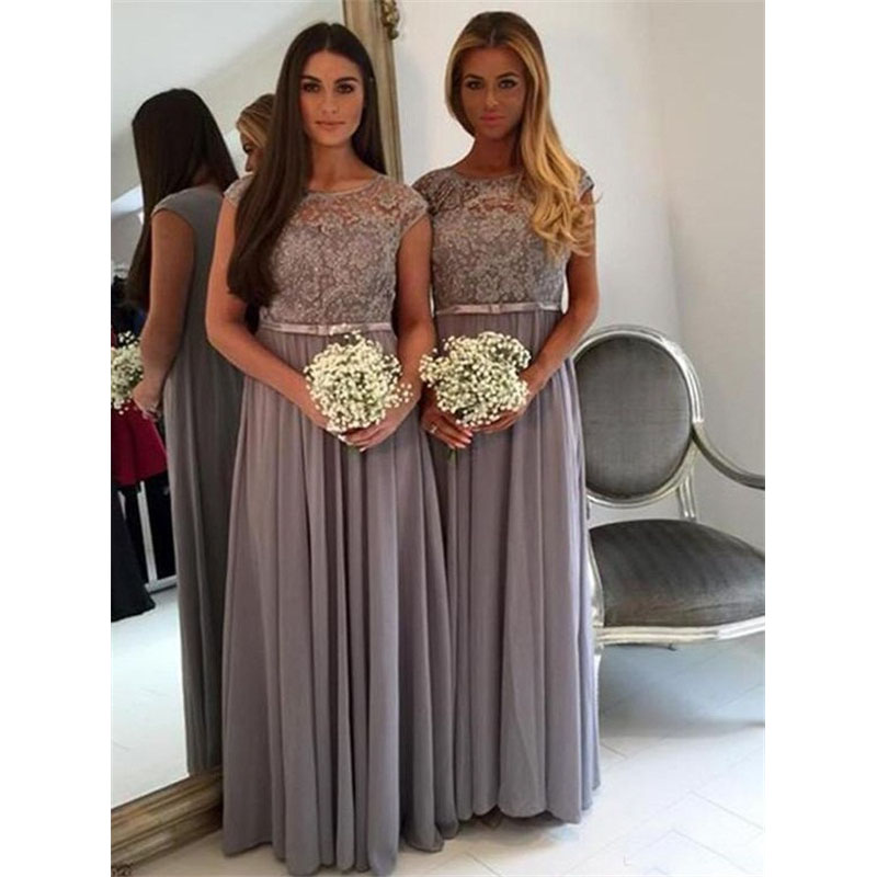 Cheap Grey A Line Long   Bridesmaid     Dresses   New Lace Pleat Floor Length Sleeveless Scoop Neck Formal   Bridesmaids   Party   Dress