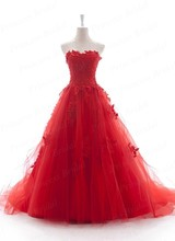 Free Shipping Actual Images Handmade Ball Gown Sweetheart Sweep Train Tulle Wedding Dress Red With Appliques MD106
