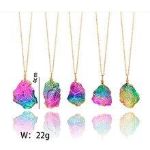 Arco Iris de piedra Natural colgante collar de moda cristal Chakra Rock collar oro Color cadena cuarzo collar largo para el rega la balsa de piedra