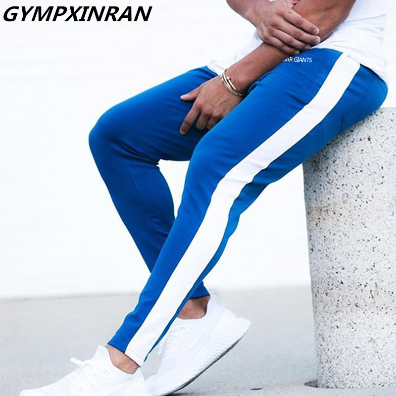 GYMPXINRAN New Men Pants Hip Hop Fitness Clothing Joggers Sweatpants Side Stripe Classic Fashion Streetwear Track Pants Trousers