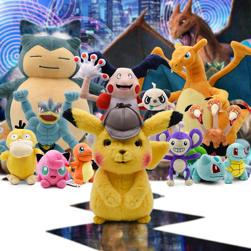 Movie Detective Pikachu Plush Toy Stuffed Dolls Charizard Eevee Jigglypuff Aipom Squirtle Animal Peluche Toy Gift For Children