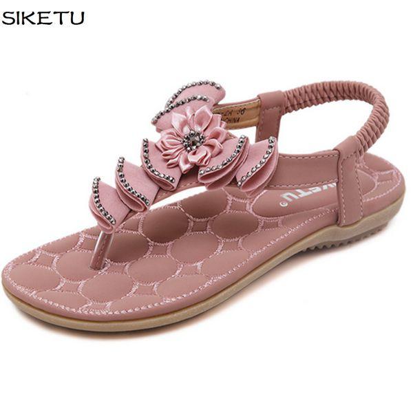 Plus sizes sandals womens 2017 summer JF054 fashion flats gladiator flowers sandals girls pink black bohemia rhinestones sandals