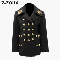 Z ZOUX Women Winter Coat Long Sleeve Ladies Coats Embroidery Badge Triple Breasted Woolen Overcoat All Match Female Overcoat New