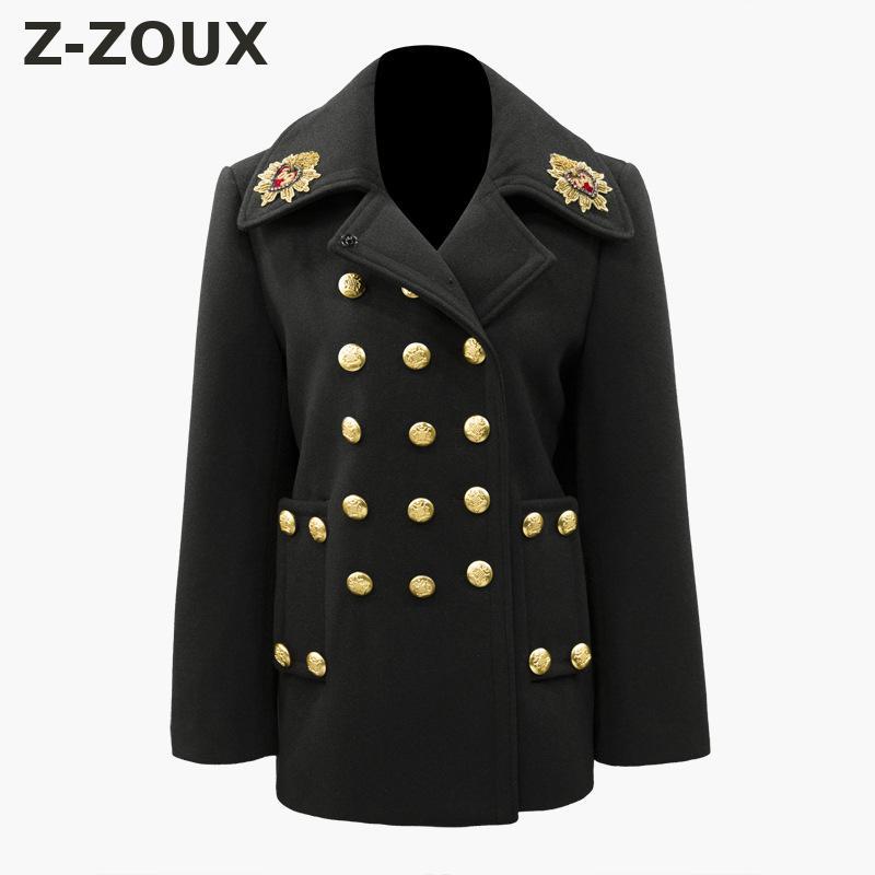 Z-ZOUX femmes hiver manteau à manches longues dames manteaux broderie Badge Triple boutonnage laine pardessus tout Match femme pardessus nouveau