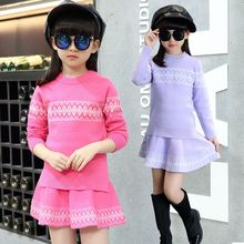 2016 female child set autumn child sweater short skirt twinset children's clothing autumn and winter child sweater