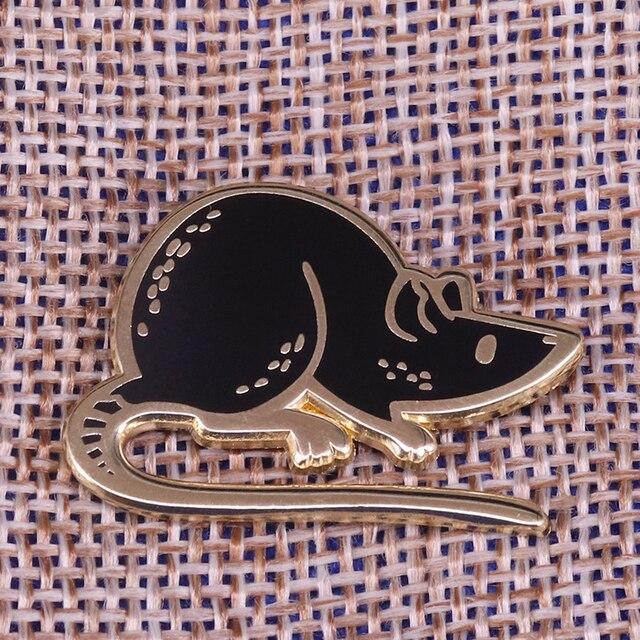 Preto mouse esmalte pino com capuz broche de rato bonito animal de estimação crachá engraçado animal jóias crianças presente unisex camisa jaqueta acessório