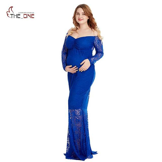 64e8978f4c5e6 MUABABY Off Shoulder Woman Maternity Dress V Neck Lace Train Long Gown Lady  Baby Shower Pregnant Evening Costume for Photography