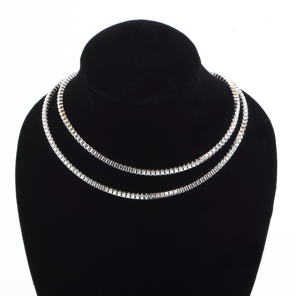 GENBOLI 2MM cube box Chain Necklace Silver Plated Copper 16/18/20/22/24 Inches Chain Necklace