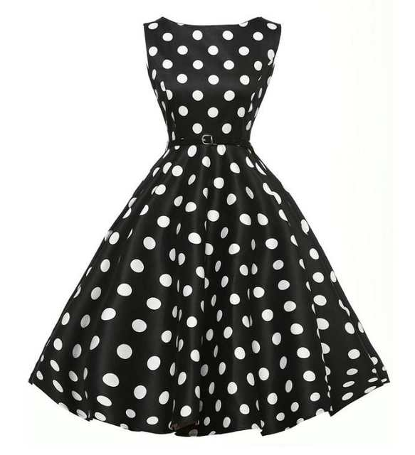437bb89c3b US $26.99 |Black/White 1950s Retro Style Polka Dots Full Circle Swing Dress  Casual Slash Dress-in Dresses from Women's Clothing on Aliexpress.com | ...