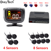 OkeyTech Auto Parktronic Car Parking Sensor 4 8 Radar Detector Reverse Backup Rear Monitor System LED