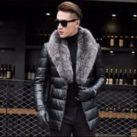 S 4XL New Men Luxury Genuine Leather Down Jacket High quality sheepskin Winter Thicken Warm jacket Business Plus Size Fur Coat