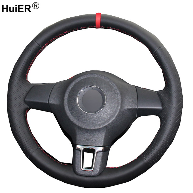 HuiER main couture voiture volant couverture rouge marqueur pour Volkswagen Golf 6 Mk6 VW Polo Sagitar Bora Santana Jetta MK5 2010-2013
