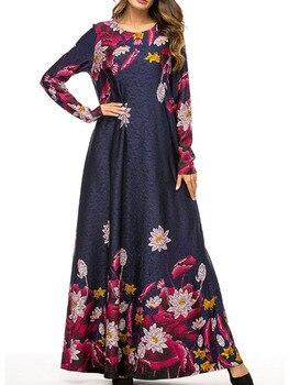 2019 New Winter Velvet Maxi Long Dresses Elegant Gold Stamping Floral Printing Muslim Dress BLUE PINK GREEN M - 4XL