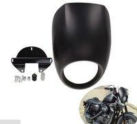 Gloss Matte Black Motorcycle Headlight Plastic Front Visor Fairing Cool Mask Bezel For Harley Sportster Dyna