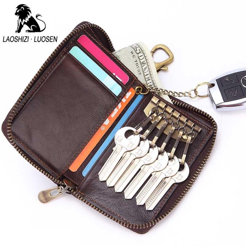 Leather Key Holder Car Key Wallets Men Key Organizer  Zipper Key Case Bag Purse