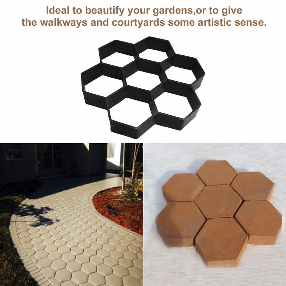 Moda Hexagon Passo-passo Pavimentazione di Pietra Giardino Passerella Driveway Pavimentazione In Mattoni di Plastica Stampo Strumenti di Decorazione