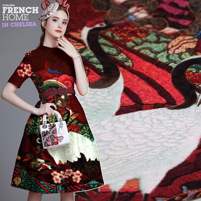 98*140 CM/PCS venda Quente importações Francesas queda de impressão digital de tecido jacquard moda para casaco vestido tissu au medidor de tecidos baratos DIY