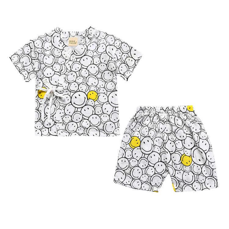 TZ508 2019 детские пижамы комплекты детских пижам ночное кимоно для мальчиков и девочек стиль детей 2 шт. Комплект, летние комплекты детской одежды