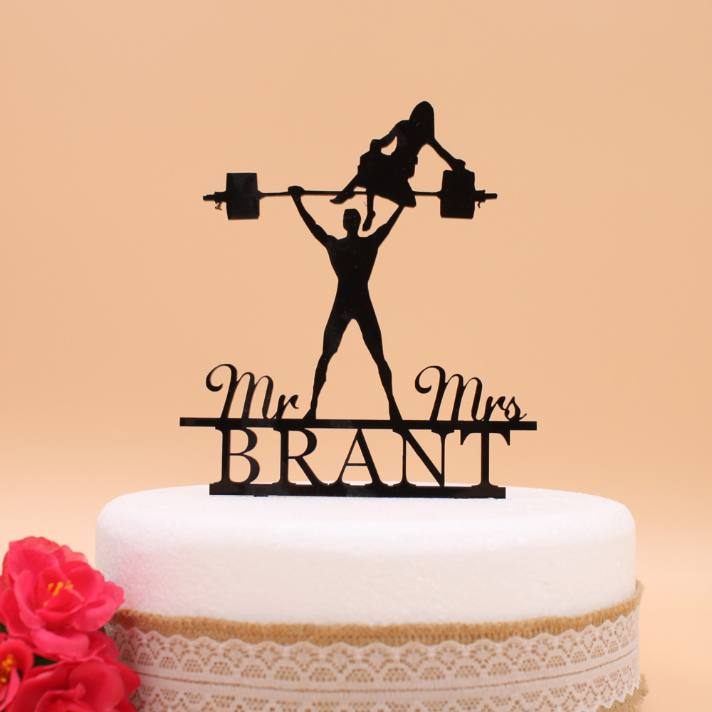 Personalized wedding Funny Barbell Man cake topper, Acrylic Custom ...