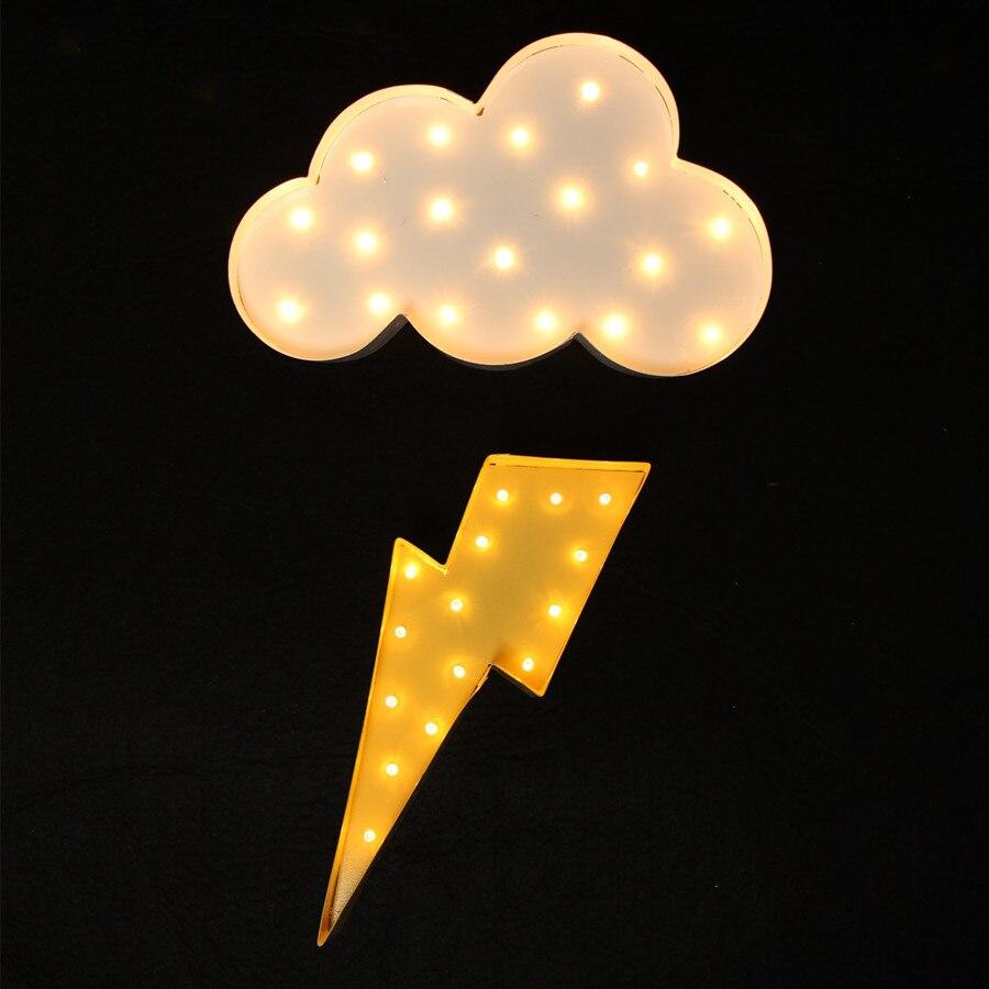 Rayon de foudre en métal blanc Signe de chapiteau LED LIGHT UP - Veilleuses - Photo 5