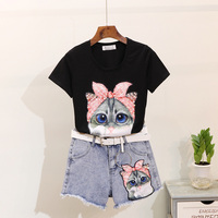 Summer Ripped Jeans Shorts Set Women New Sequined Cat Print Short Sleeve T Shirt + Woolly Denim Shorts Two Piece Set Student