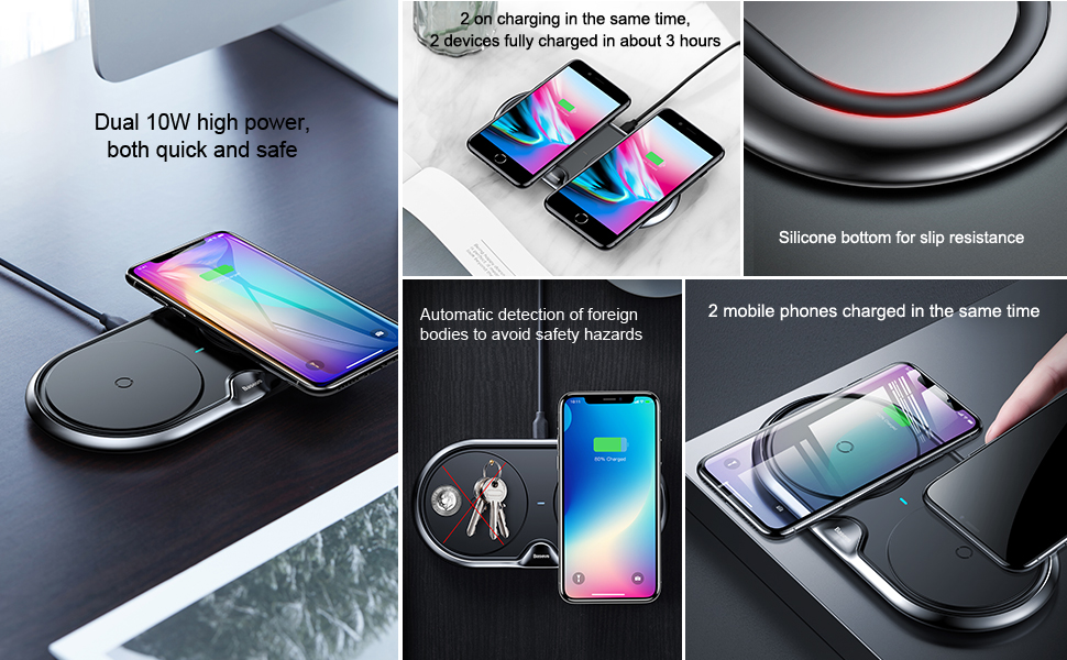 Wireless Charger of Baseus Dual For iPhone X XS Max Xr Samsung S9 S8 Note 8 9 10W Fast Wireless Charging Pad Dock Station Desktop 2