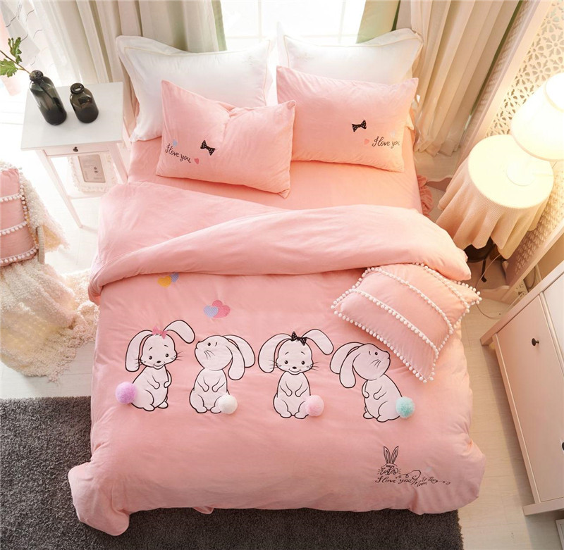 Pink Cartoon Rabbit Applique Embroidery Thick Flannel Bedding Set Fleece Fabric Duvet Cover Bed Sheet Pillowcases Gift For Child