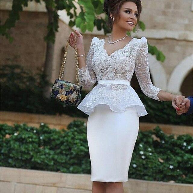 Lange weiße spitze Cocktail Kleider Neue Mode Weiß knielangen ...